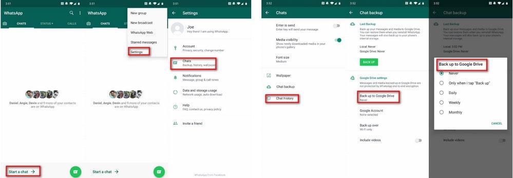 back up whatsapp via google drive