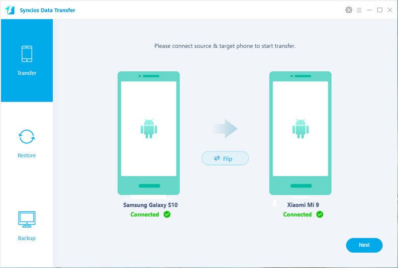Data transfer from Samsung Galaxy S10 to Xiaomi Mi 9