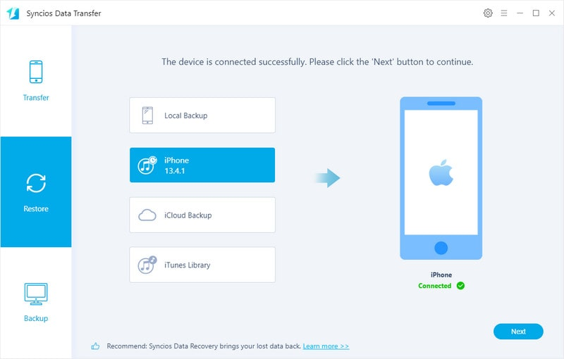 restore itunes backup to iphone, ipad on ios 14