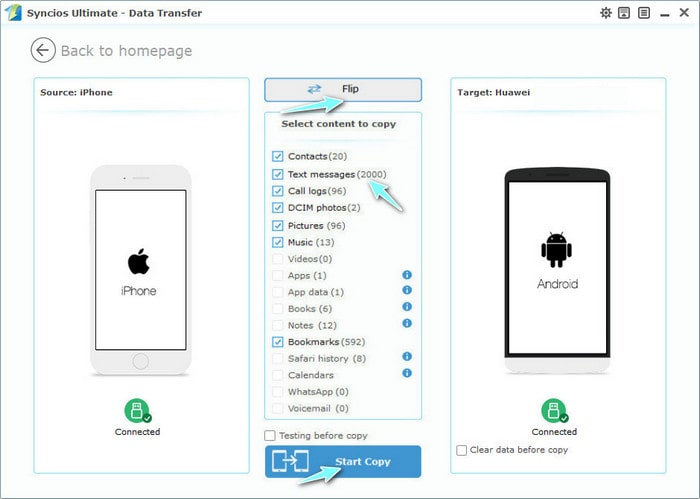 Syncios Mobile Manager to messages transfer