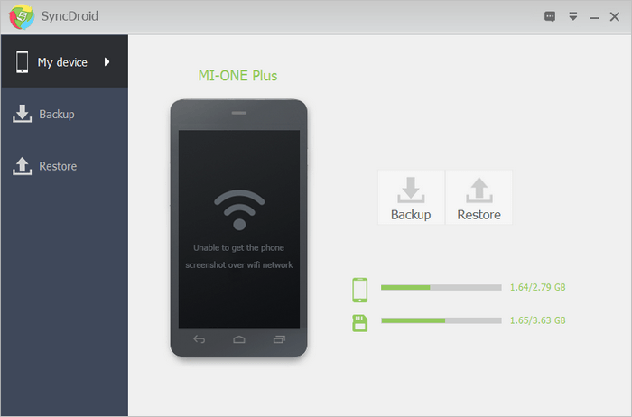 Screenshot of SyncDroid Android Phone Backup and Android Phone Restore