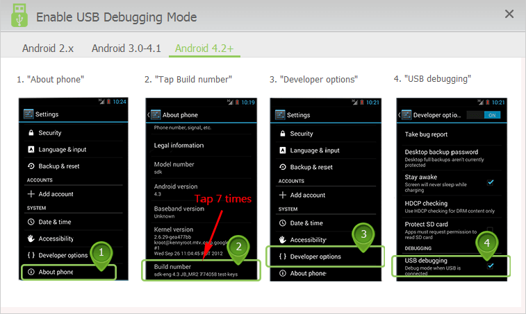 enable USB debugging mode on Android 4.2