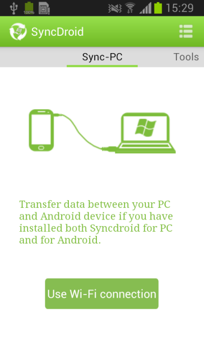 sync phont to pc via wifi